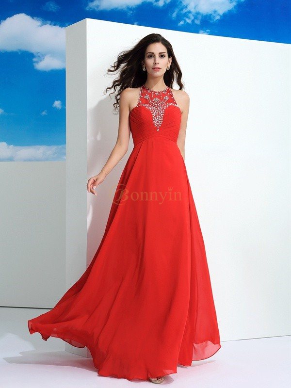 Watermelon Chiffon Sheer Neck A-Line/Princess Floor-Length Prom Dresses