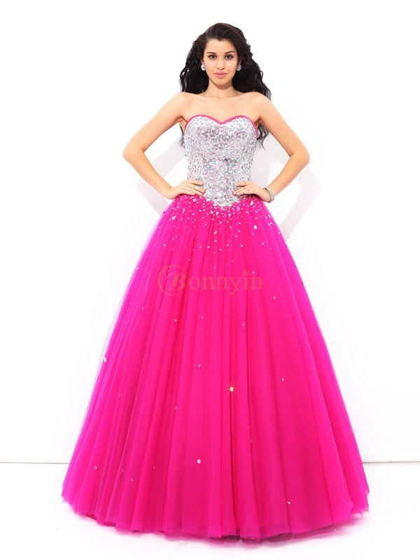 Fuchsia Satin Sweetheart Ball Gown Floor-Length Quinceanera Dresses