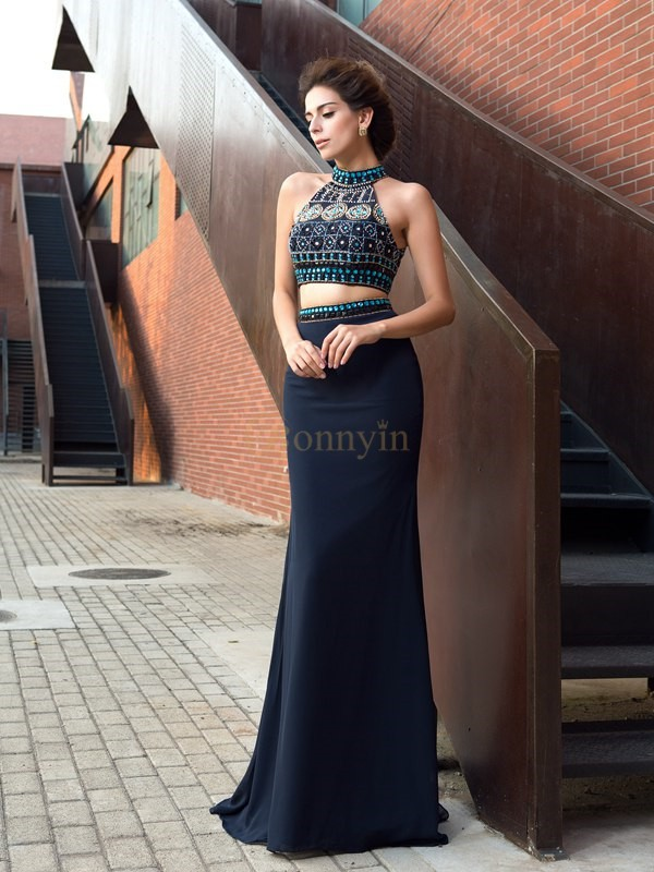 Dark Navy Chiffon High Neck Sheath/Column Sweep/Brush Train Prom Dresses