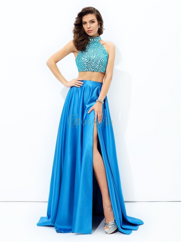 Royal Blue Satin High Neck A-line/Princess Court Train Prom Dresses