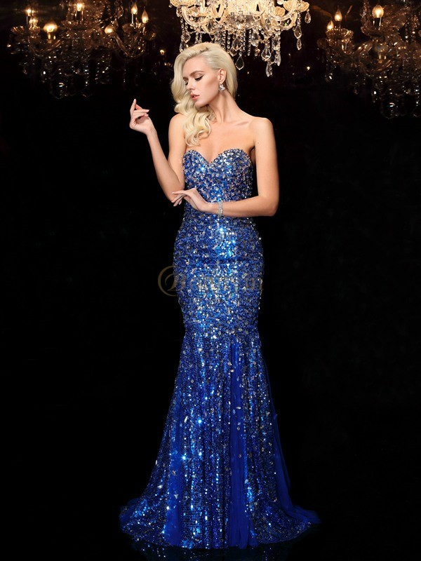 Royal Blue Sequins Sweetheart Trumpet/Mermaid Court Train Prom Dresses