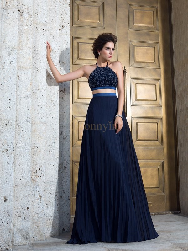 Dark Navy Chiffon Spaghetti Straps A-Line/Princess Sweep/Brush Train Prom Dresses