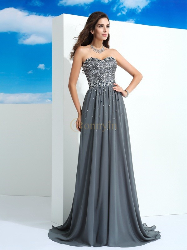 Grey Chiffon Sweetheart A-Line/Princess Sweep/Brush Train Prom Dresses