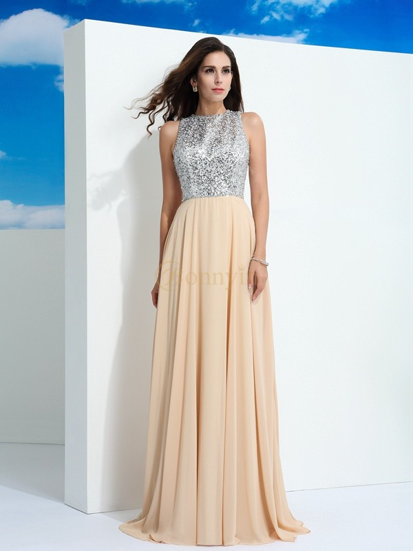 Champagne Chiffon Scoop A-Line/Princess Sweep/Brush Train Prom Dresses