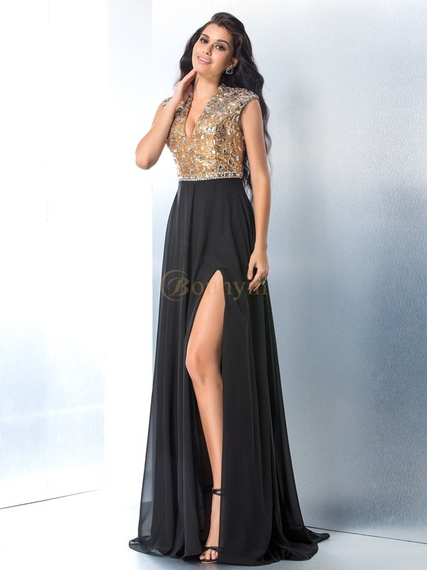 Black Chiffon V-neck A-Line/Princess Sweep/Brush Train Prom Dresses