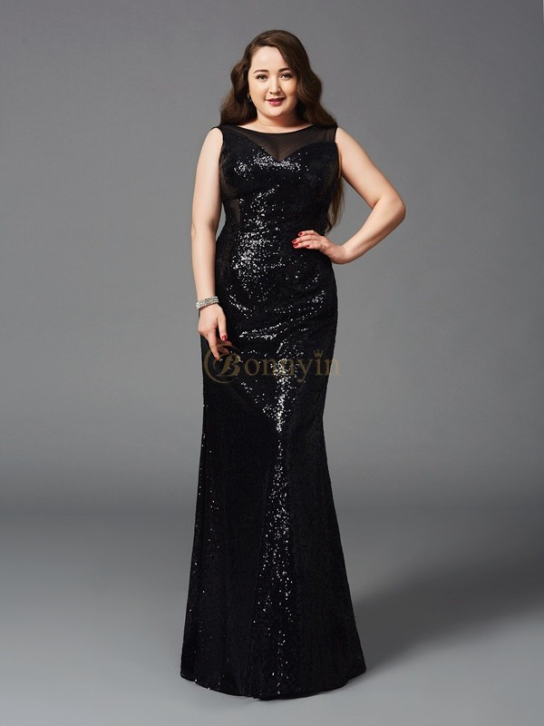 Black Sequin Scoop Sheath/Column Floor-Length Prom Dresses