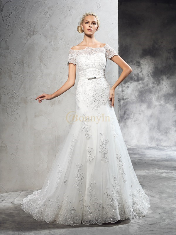 Ivory Net Off-the-Shoulder Sheath/Column Court Train Wedding Dresses