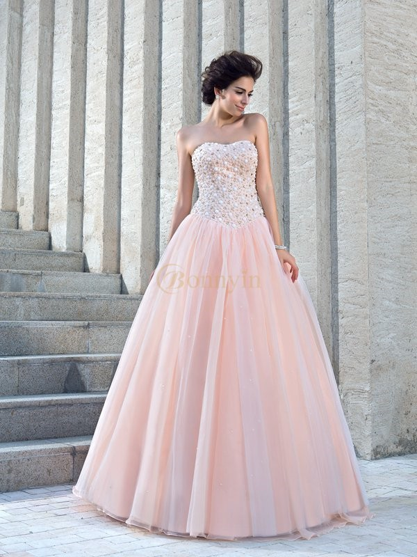 Pink Satin Strapless Ball Gown Floor-Length Wedding Dresses