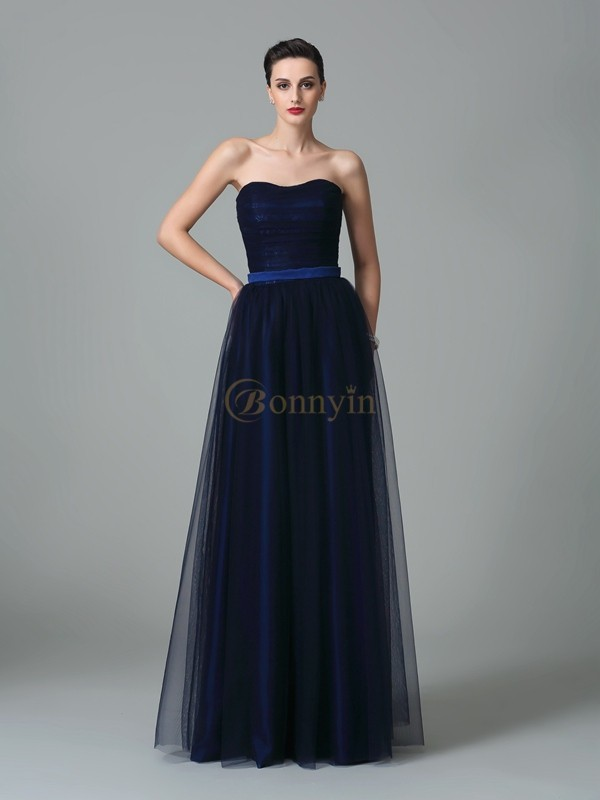 Dark Navy Net Sweetheart A-Line/Princess Floor-Length Bridesmaid Dresses