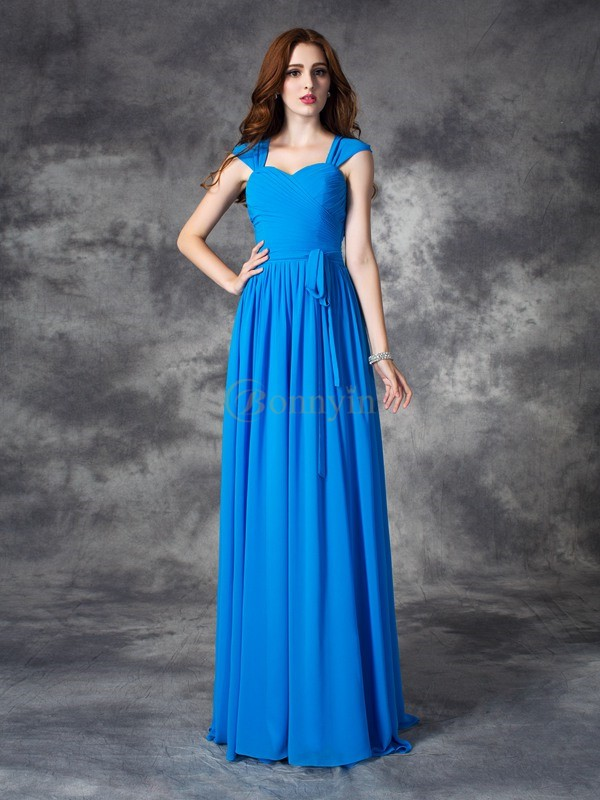 Blue Chiffon Straps A-line/Princess Floor-length Bridesmaid Dresses