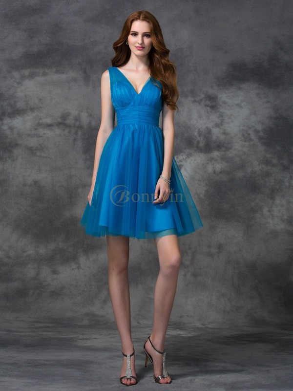 Royal Blue Satin V-neck A-line/Princess Short/Mini Bridesmaid Dresses