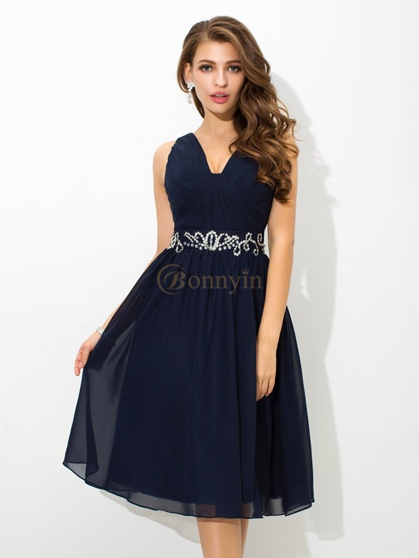 Dark Navy Chiffon Straps A-Line/Princess Knee-Length Cocktail Dresses
