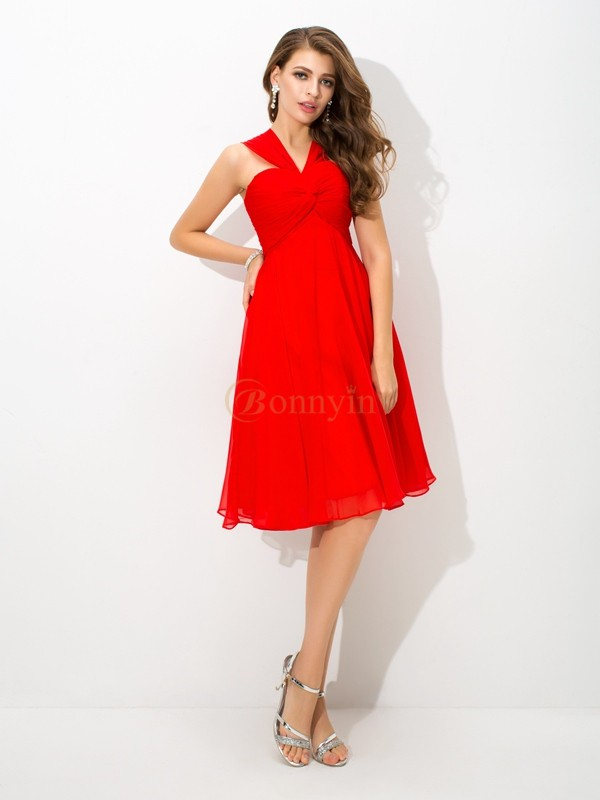 Red Chiffon Straps A-Line/Princess Knee-Length Cocktail Dresses
