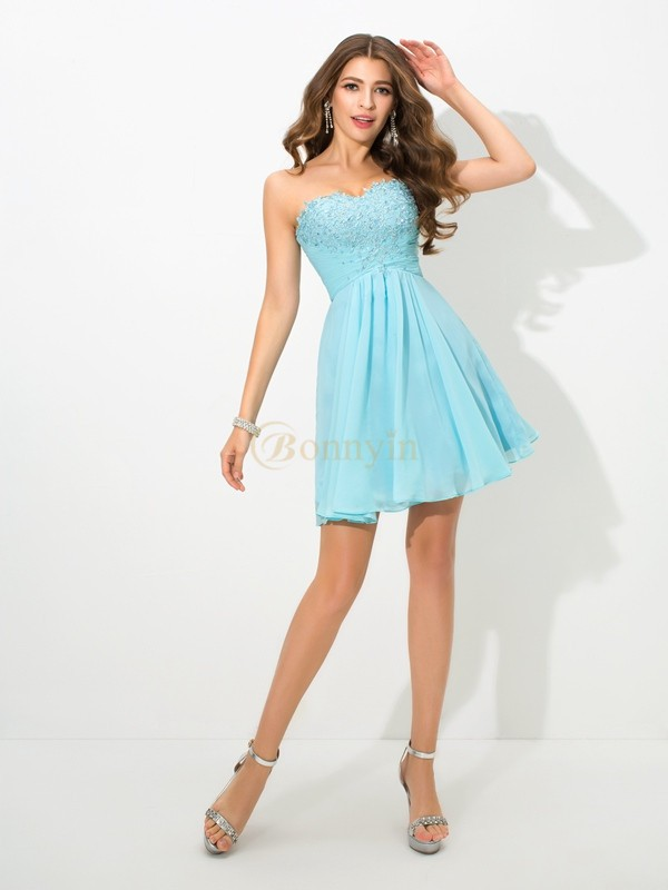 Light Sky Blue Chiffon Sweetheart A-Line/Princess Short/Mini Cocktail Dresses