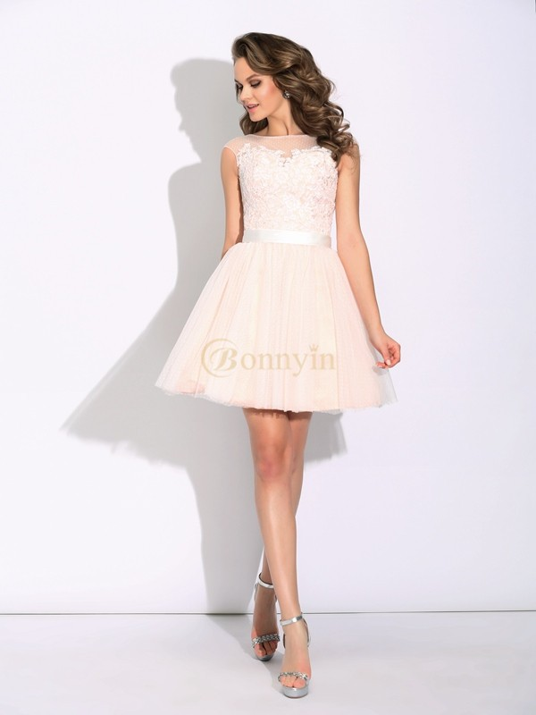Pearl Pink Net Bateau A-Line/Princess Short/Mini Cocktail Dresses