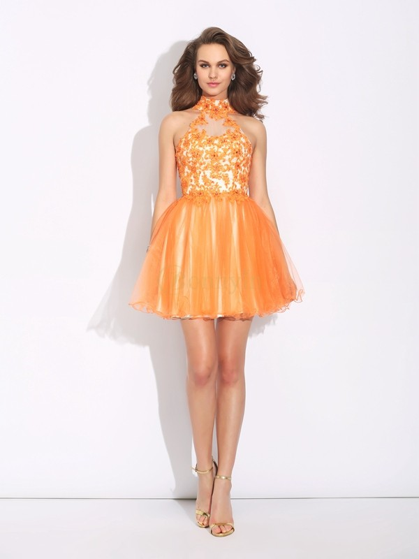 Orange Net High Neck A-Line/Princess Short/Mini Cocktail Dresses