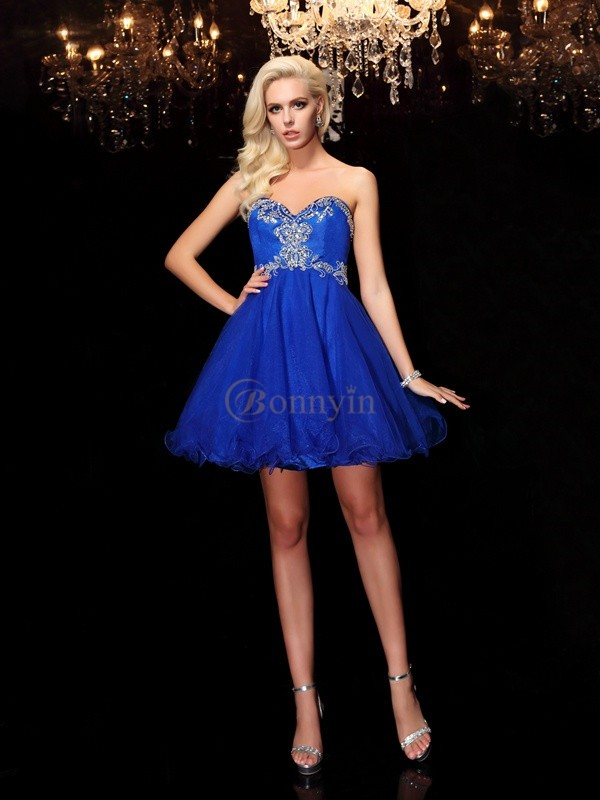Royal Blue Net Sweetheart A-Line/Princess Short/Mini Cocktail Dresses