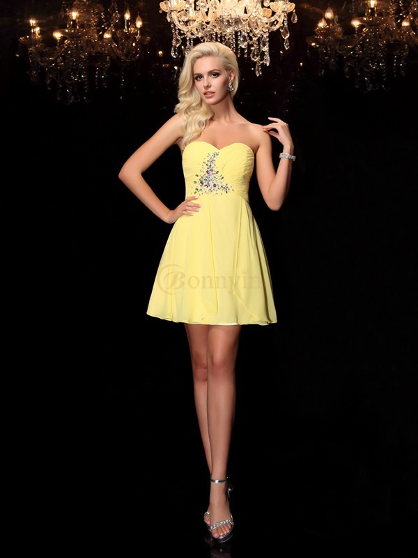 Yellow Chiffon Sweetheart A-Line/Princess Short/Mini Cocktail Dresses