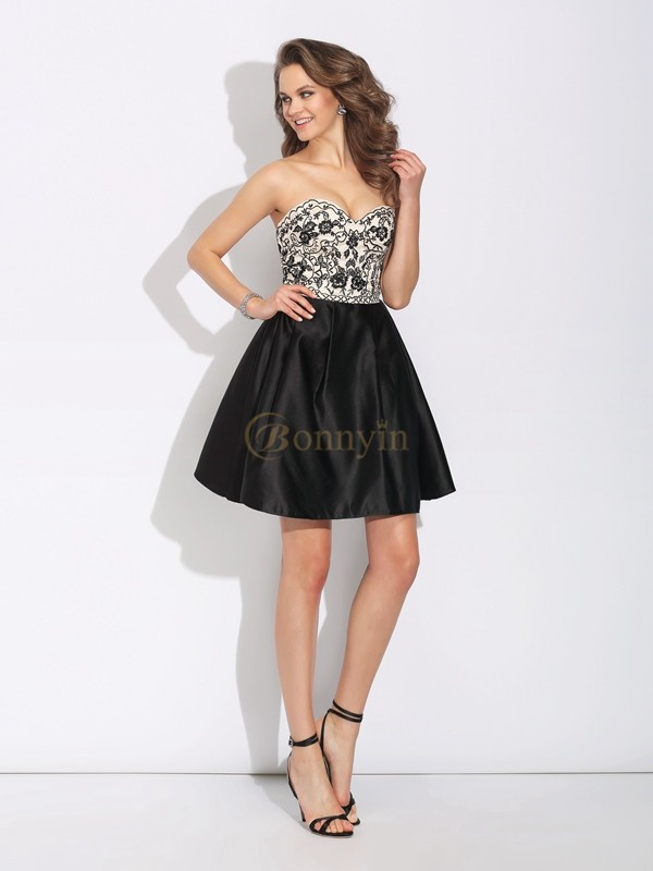 Black Satin Sweetheart A-Line/Princess Short/Mini Cocktail Dresses