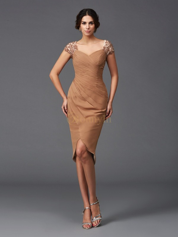 Brown Chiffon Sweetheart Sheath/Column Asymmetrical Cocktail Dresses