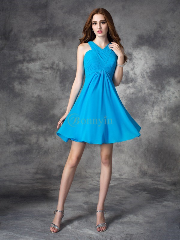 Blue Silk like Satin V-neck A-line/Princess Short/Mini Cocktail Dresses