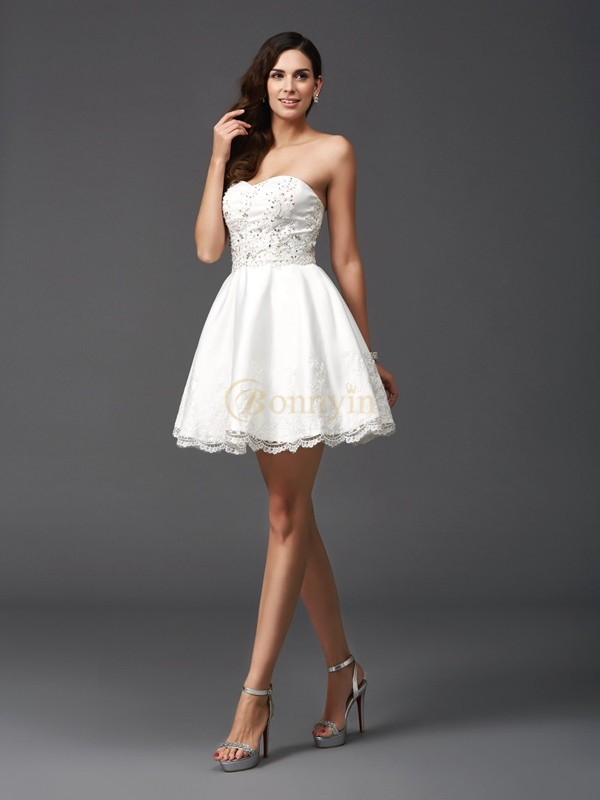 Ivory Satin Sweetheart A-Line/Princess Short/Mini Cocktail Dresses