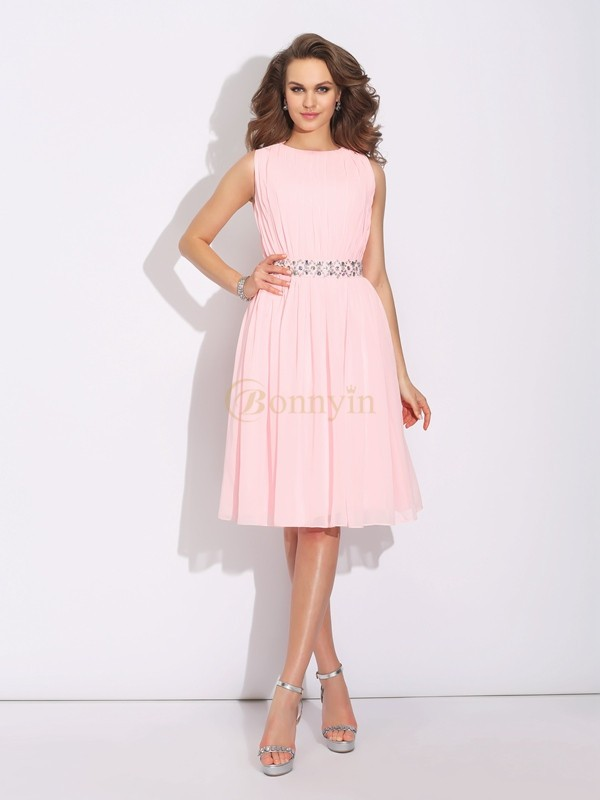 Pink Chiffon Jewel A-Line/Princess Knee-Length Cocktail Dresses