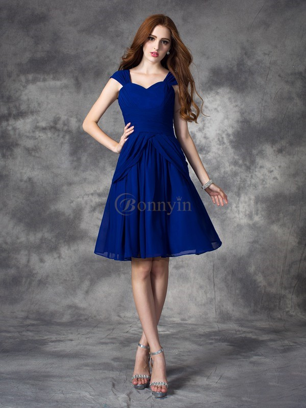 Royal Blue Chiffon Straps A-line/Princess Floor-length Cocktail Dresses