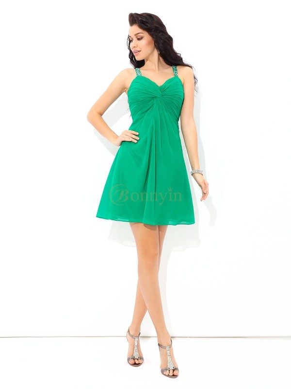 Green Chiffon Straps A-Line/Princess Short/Mini Cocktail Dresses