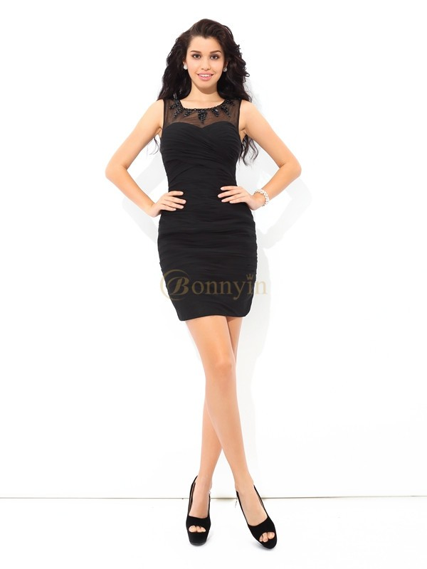 Black Chiffon Sheer Neck Sheath/Column Short/Mini Cocktail Dresses