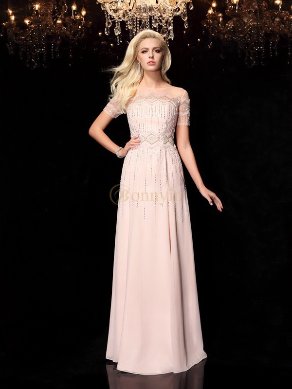 Pearl Pink Chiffon Bateau A-Line/Princess Floor-Length Evening Dresses