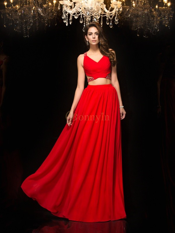 Red Chiffon V-neck A-Line/Princess Floor-Length Evening Dresses