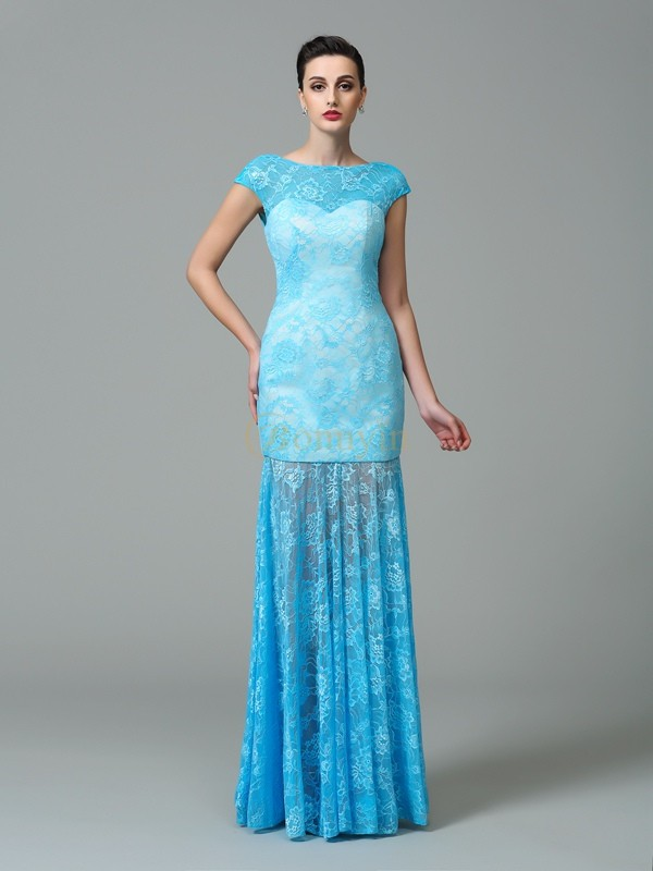 Light Sky Blue Lace Scoop Sheath/Column Floor-Length Evening Dresses