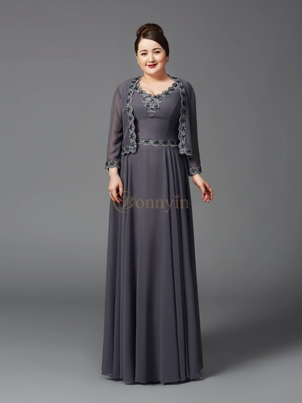 Grey Chiffon Straps A-Line/Princess Floor-Length Mother of the Bride Dresses