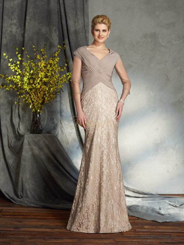 Silver Chiffon V-neck Sheath/Column Floor-Length Mother of the Bride Dresses