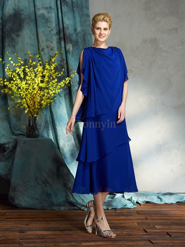 Royal Blue Chiffon Bateau A-Line/Princess Knee-Length Mother of the Bride Dresses
