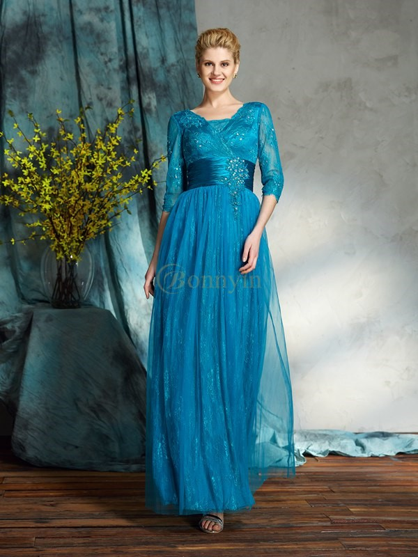 Blue Net V-neck A-Line/Princess Floor-Length Mother of the Bride Dresses