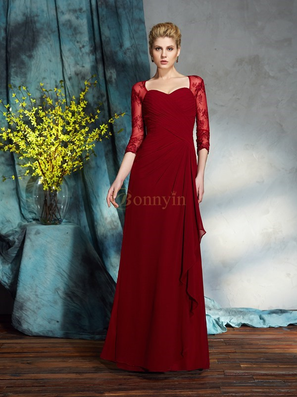 Red Chiffon Sweetheart Sheath/Column Floor-Length Mother of the Bride Dresses
