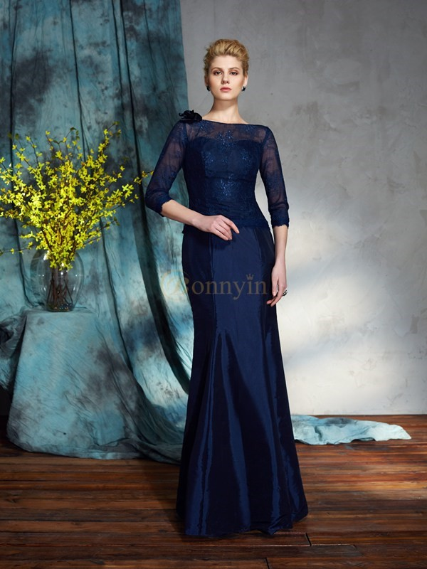Dark Navy Taffeta Bateau Trumpet/Mermaid Floor-Length Mother of the Bride Dresses