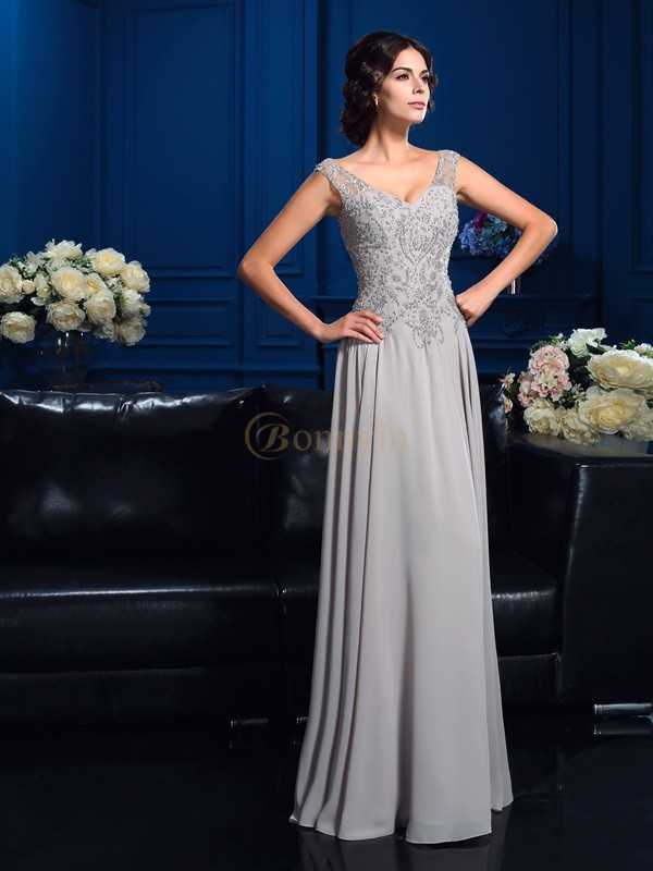 Silver Chiffon V-neck A-Line/Princess Floor-Length Mother of the Bride Dresses
