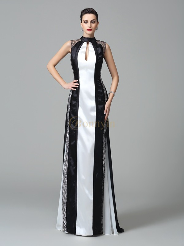 Black Chiffon High Neck Sheath/Column Sweep/Brush Train Prom Dresses