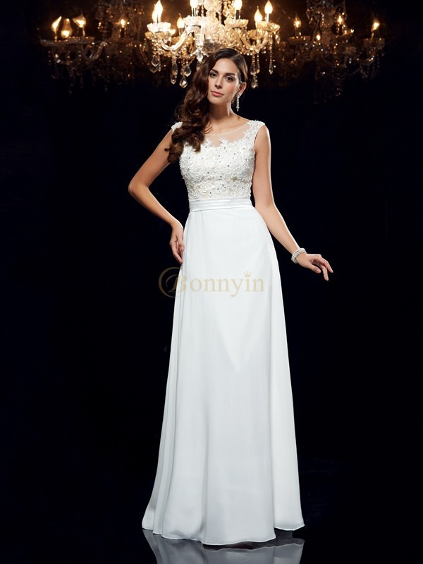 White Chiffon Scoop A-Line/Princess Floor-Length Prom Dresses