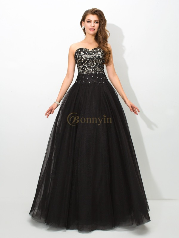 Black Net Sweetheart Ball Gown Floor-Length Prom Dresses