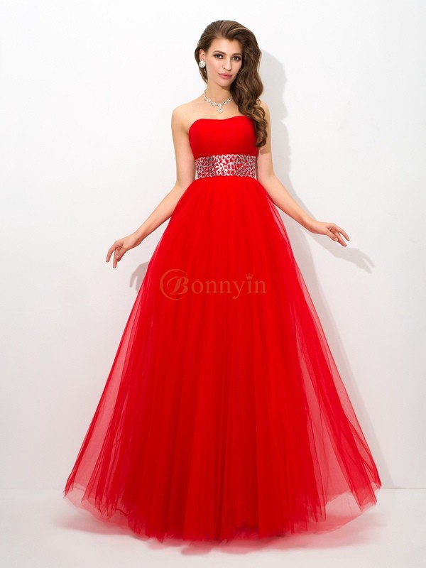 Red Net Strapless Ball Gown Floor-Length Prom Dresses
