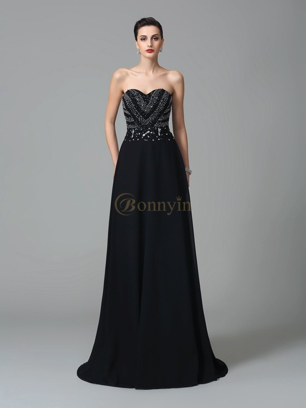 Black Chiffon Sweetheart A-Line/Princess Sweep/Brush Train Prom Dresses