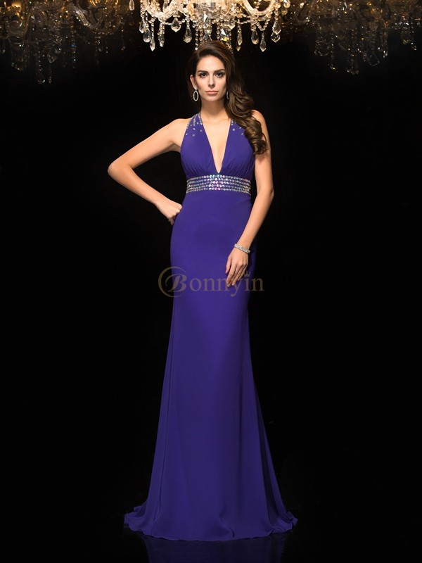Regency Chiffon V-neck Trumpet/Mermaid Sweep/Brush Train Prom Dresses