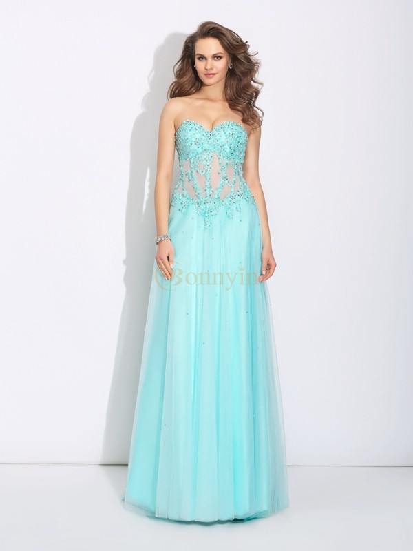 Light Sky Blue Net Sweetheart A-Line/Princess Sweep/Brush Train Prom Dresses