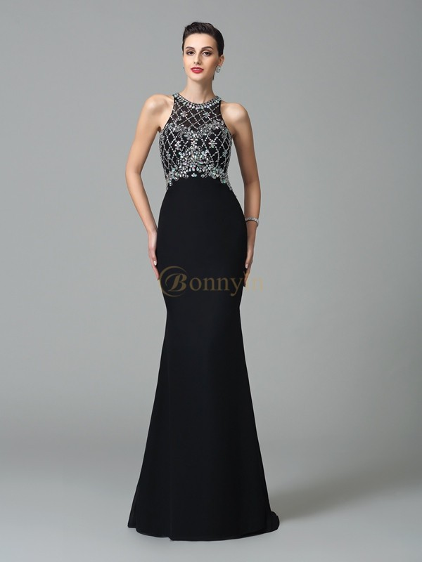 Black Chiffon Jewel Trumpet/Mermaid Sweep/Brush Train Prom Dresses
