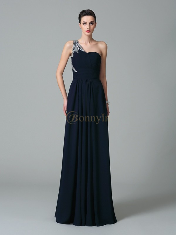 Dark Navy Chiffon One-Shoulder A-Line/Princess Floor-Length Prom Dresses