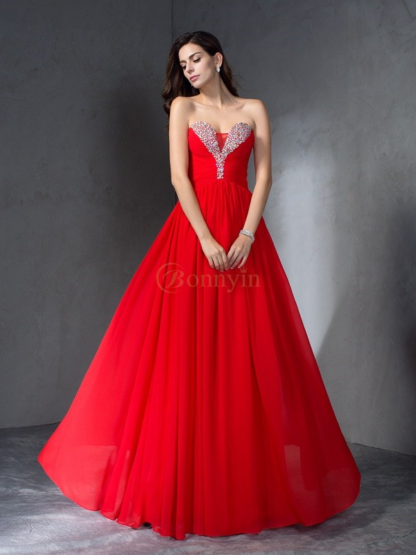 Red Chiffon Sweetheart A-Line/Princess Floor-Length Prom Dresses